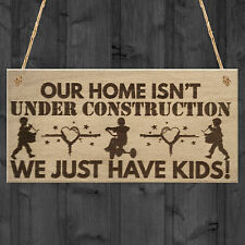 Kids! Funny Parenting Home Parent Children Wood Plaque House Warming Gift Sign