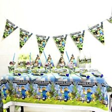 Mining Pixel Video Game Birthday Party Plates Cups Bunting Tablecloth Dupe