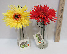 NOS Gerbera Daisy In Glass Vase Yellow & Red Faux Silk Floral Home Decor Lot 2