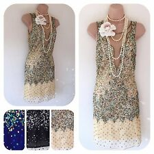 NWT sequin beaded Embellished Flapper 20's Gatsby Prom Dress 8 10 12 14  RRP£95