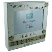 """Photo Frame The Worlds Best Step Dad Tile Art Fathers Day Gift Wood Cream 6x4"""""""