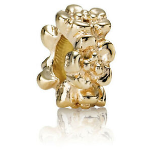 Authentic Pandora Gold Row of Flowers Charm Spacer Bead - 14kt Retired 750269