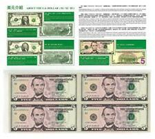 USA UNCUT 2x2 FIVE DOLLARS US$5 banknote with double folder (UNC) 5美元4连体钞横版带册