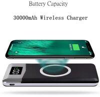 30000mah Power Bank External Battery Bank Built-in Wireless Charger Powerbank Po