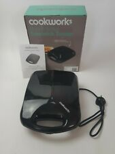 COOKWORKS 4 Portion Non Stick Sandwich Toaster 1200W - Black