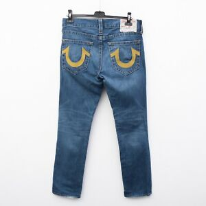 TRUE RELIGION Geno Relaxed Slim embroidery Men's W35 L36 Denim Jeans Pants Blue