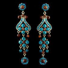 Vintage Chandelier Earrings Bridal Bridesmaids Turquoise Brown Clear Green Blue