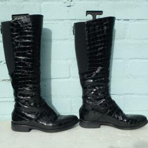 Hobbs Patent Leather Boots Uk 4 Eur 37 Pull on Elasticated Croc Black Boots