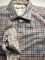 Robert Graham Flip Cuff Floral Button Up Down Plaid Long Sleeve Classic Fit XL