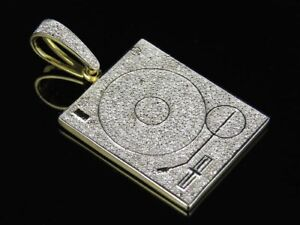 2.10 CT Diamond DJ Scratcher Turntables Music Pendant 14K Yellow Gold FN 925 SS