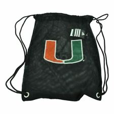 NCAA Miami Hurricanes Black Mesh Backpack String Bag Gym Sports Canes Game