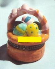 AN EASTER EGG BASKET-Porcelain Hinged-Box..CHOCK FULL of COLORFUL EGGS