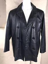 Nautica Men's Black Leather Double Breasted Pea Coat Sz 44 Vintage