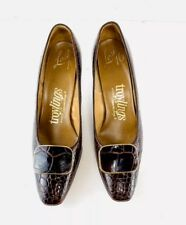 Vintage 1950's-60's Seymour Troy Troylings Alligator Pumps ~ 7 Narrow Brown