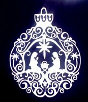 4 x large Christmas Nativity baubles, card toppers, paper die cut, Christmas B2