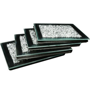 4xSquare Mirrored Crushed Crystal Coasters Sparkle Table Mats Diamond Glitter UK