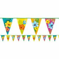 6M HIBISCUS BUNTING PENNANT HAWAIIAN TROPICAL LUAU POOL PARTY DECORATION BANNER