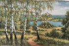 Gobelin Tapisserie Paneele Textilbild  Birken Naturlandschaften Stoff 59x35 cm
