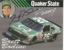 Brett Bodine Autographed 8x10 Postcard Quaker State L@@K