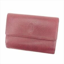 Cartier Wallet Purse Trifold Mastline Red Woman Authentic Used T7255