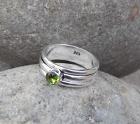 Peridot Solid 925 Sterling Silver Spinner Ring Meditation statement Ring SR305