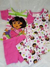 Dora the Explorer 4 Piece Pajama Set PJ Tee T-Shirt Shorts Cotton NWT 2T Sleep