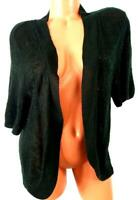 Faded glory black thin see through women's short sleeve open cardigan sweater 3X