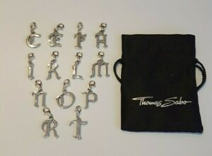 Thomas Sabo Sterling Silver Vintage Style CZ Letter Charms Sold Individually