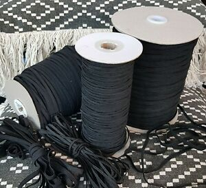 QUALITY 5mm Black Flat ELASTIC Cord For Sewing Making Face Covering Earloop
