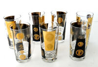 7 Cera Black 22K Gold Coin Highball Glasses, MCM Vintage, Mid Century Barware