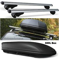M-Way Aluminium Lockable Car Roof Rack Rail Bars & 400L Travel Box for Ford Kuga