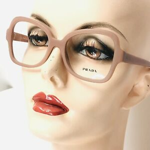 New Prada Eyeglasses VPR 25S Coral Blush Pink Matte Butterfly Frames Italy