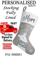 Grey REINDEER (style 2) Personalised Beautiful Quality Lined Christmas stocking