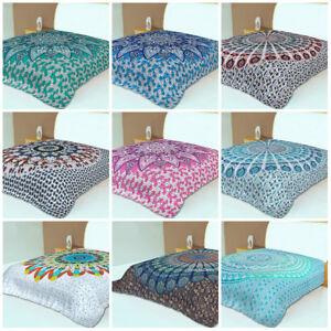 Indian Mandala Coverlet Bed Sheet Tapestry Handmade Cotton Queen Bedding Set