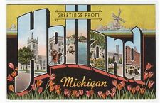 Holland Michigan Large Letter linen postcard #2