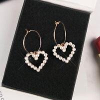 Hot Korean Women Circle Hoop Heart Pearl Drop Dangle Party Earrings Jewelry Gift