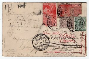 Italy 1913 Attractive Franking Postcard to Egypt - Redirected -