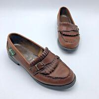 Eastland 348989 Women Brown Leather Tassle Moc Loafer Shoe Size 6.5M Pre Owned