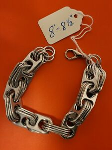 """8""""-8.5"""" Silver Aluminum Pull Tab Can Tab Bracelet Steam Punk with Lobster Clasp"""