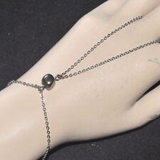 Chaîne de main bracelet bague original acier inoxydable pierre Pyrite bijou ring