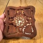 Mid Century Carved Wood W/Shell Inlay Trivet