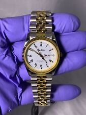 NWT Mens Michele Watch Day Date Roman Dial Made Japan 71-075-SG Two Tone