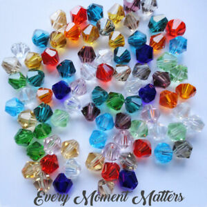 100 x CRYSTAL GLASS BICONES BEADS FACETED BICONE BEADS 5301 4mm Choose Colour