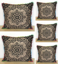 """5 Pcs. Set Of 24X24"""" Black Gold Pillow Covers Cushion Cover Room Decorativ Throw"""