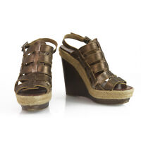 CHRISTIAN LOUBOUTIN Brown Leather Barcelona Espadrille 140 Wedges Size 39