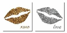 NEW Gold and Silver Lips with XOXO and Love, Two 12x12in Paper Posters