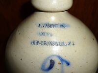 Antique A J Buttler New Brunswick NJ Cobalt Blue 2 Gallon Stoneware Pottery Jug