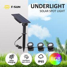 RGB Solar Powered LED Spotlight Garden Pond Yard Underwater Waterproof Lighting