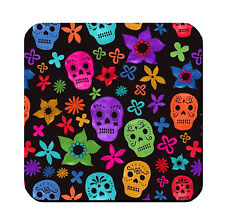 4 WOOD DRINK COASTERS - SUGAR SKULL 2 Dia de los Muertos Day of Dead Halloween