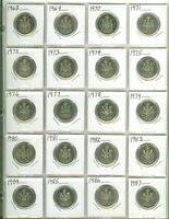 NICE Set of 20 Canada Fifty Cent  Half Dollars 1968 to 1987